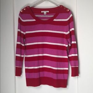 Banana Republic Red Pink and White Striped Sweater